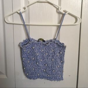 Blue and White Strappy crop top